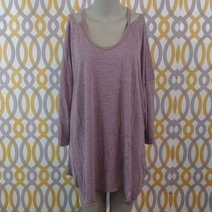 TERRA & SKY Purple Cut Out Shirt Plus Size 2X 20W